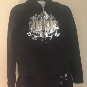 Juicy Couture black cotton hoodie and pants set.